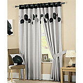 Curtina Danielle Eyelet Lined Curtains 66x72 inches (168x183cm) - Black