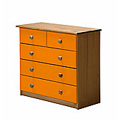 Verona Drawer Chest 3 + 2 Colour Antique and Orange