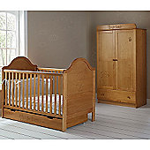 OBaby B is for Bear Cot Bed, Drawer & Double Wardrobe (Country Pine)
