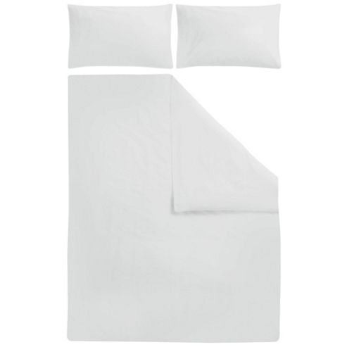 Tesco Poly/Cotton Plain Dye Bedset White Single