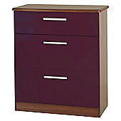 Welcome Furniture Knightsbridge 3 Drawer Deep Chest - White - Aubergine