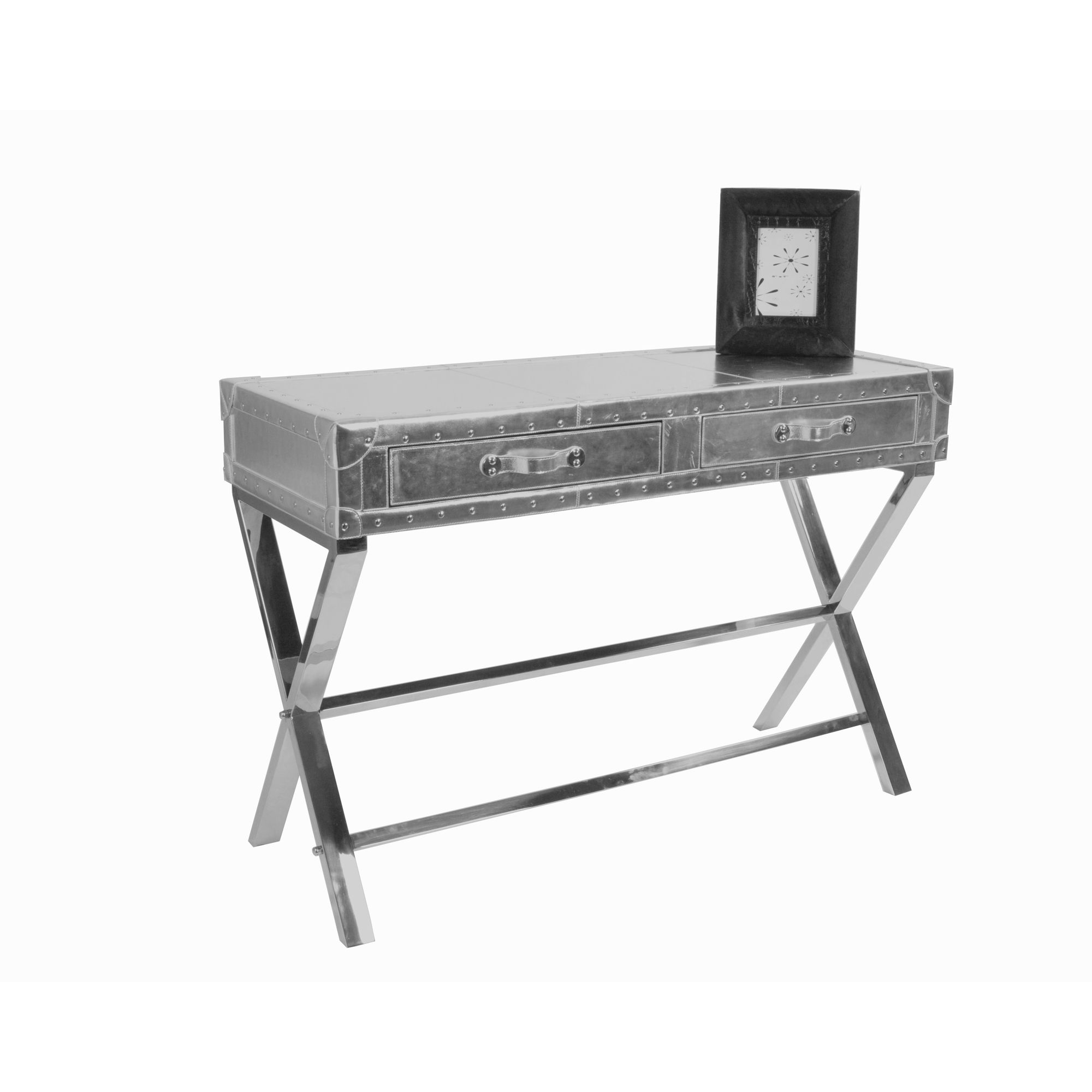 Jadeed Interiors Leather Desk in Metallic Silver at Tesco Direct