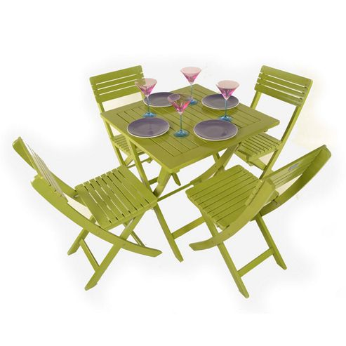 Painted Wooden 4 Seater Square Folding Bistro Set Green - Outdoor/Garden table and Chair set.