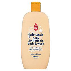 Johnsons Baby 2 In 1 Bubble Bath & Wash 500ML