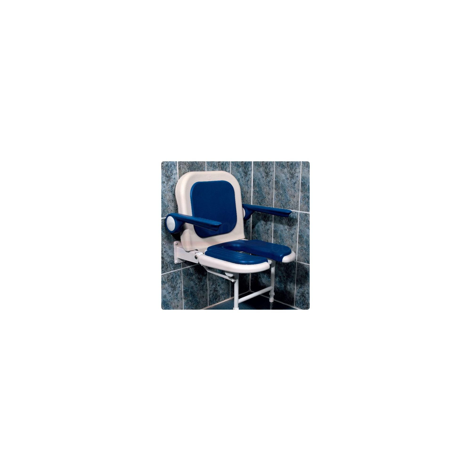 AKW 4000 Series Standard Fold Up Horseshoe Shower Seat Blue with Back and Blue Arms at Tesco Direct