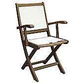 Windsor Wooden Folding Wood and Fabric Garden Dining Chair - 2 Pack