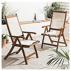 Windsor Folding Wood & Waterproof Fabric Garden Dining Chairs, 2 Pack