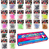 2200 Colourful Rainbow Rubber Loom Bands Bracelet Making Kit Set With S-Clips