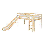 Flexa Flexa Classic Mid-High Bed with Straight Ladder and Slide - White