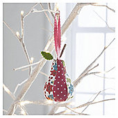 Gisela Graham Fabric Pear Floral Design Hanging Decoration