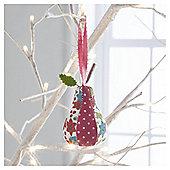 Gisela Graham Fabric Pear Floral Design Hanging Decoration