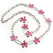 Long Oval Link Floral Necklace (Pink)