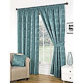 Milano Teal Lined Pencil Pleat Curtains & Tiebacks - 46x72