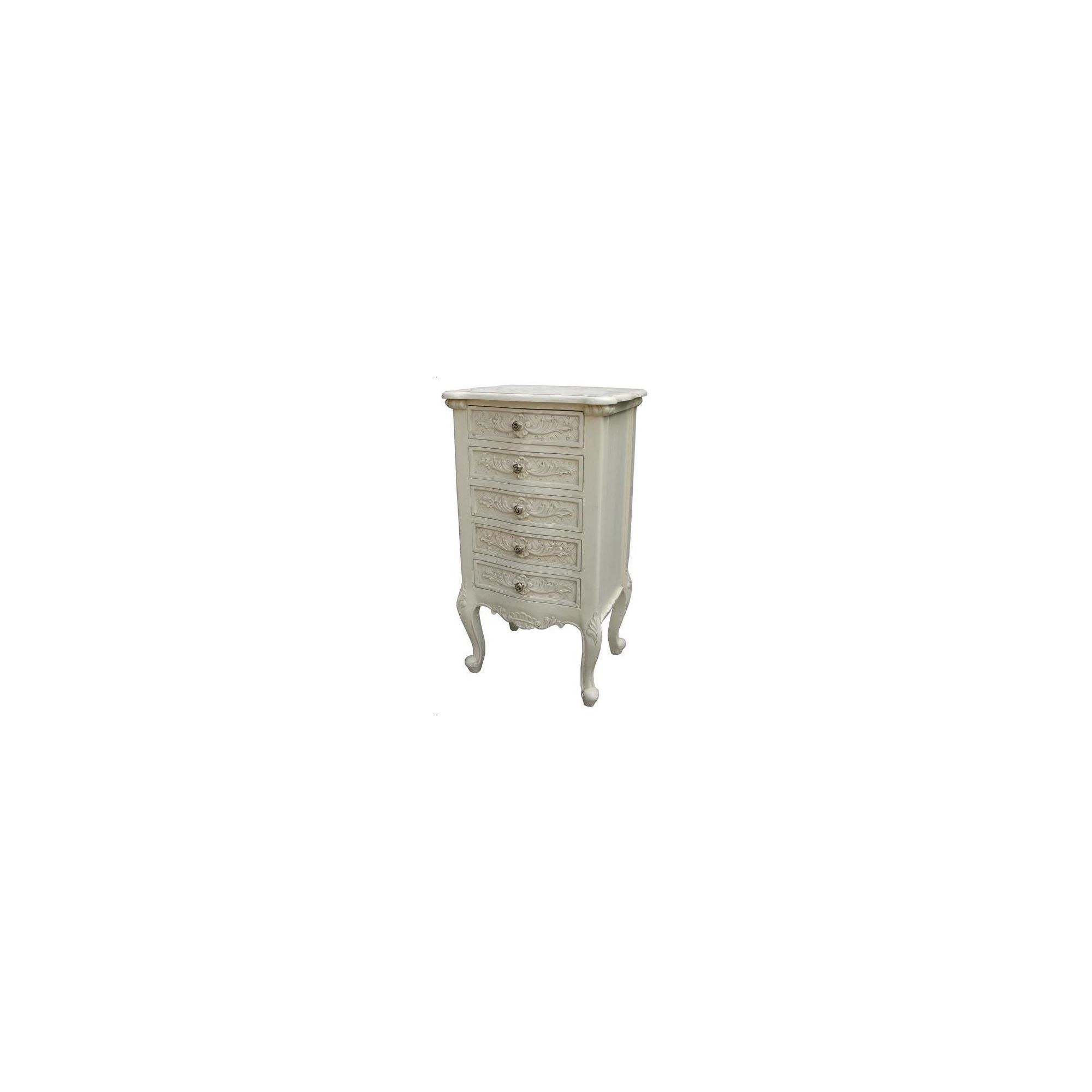 Lock stock and barrel Mahogany Valbonne 5 Drawer Chest - Antique White at Tesco Direct