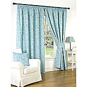 Genesis Teal Pencil Pleat Lined Curtains - 66x72