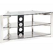 Techlink Skala Corner TV Stand for up to 50 inch TV s - Brushed Titanium and Smoked Glass