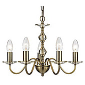 Traditional Five Armed Ceiling Light in Antique Brass and Clear Glass Sconces