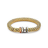 Jewelco London Silver - Gilded - 8mm Stretchy Brick - Bracelet - Ladies