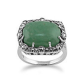 Gemondo 925 Sterling Silver Cocktail Ring With Aventurine & Marcasite