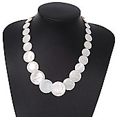 White Shell Necklace In Silver Plating - 40cm Length/ 3cm Extension