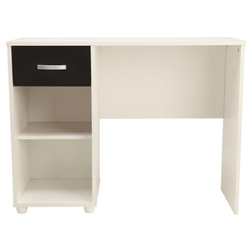 Reno 1 Drawer Desk,  White/Black