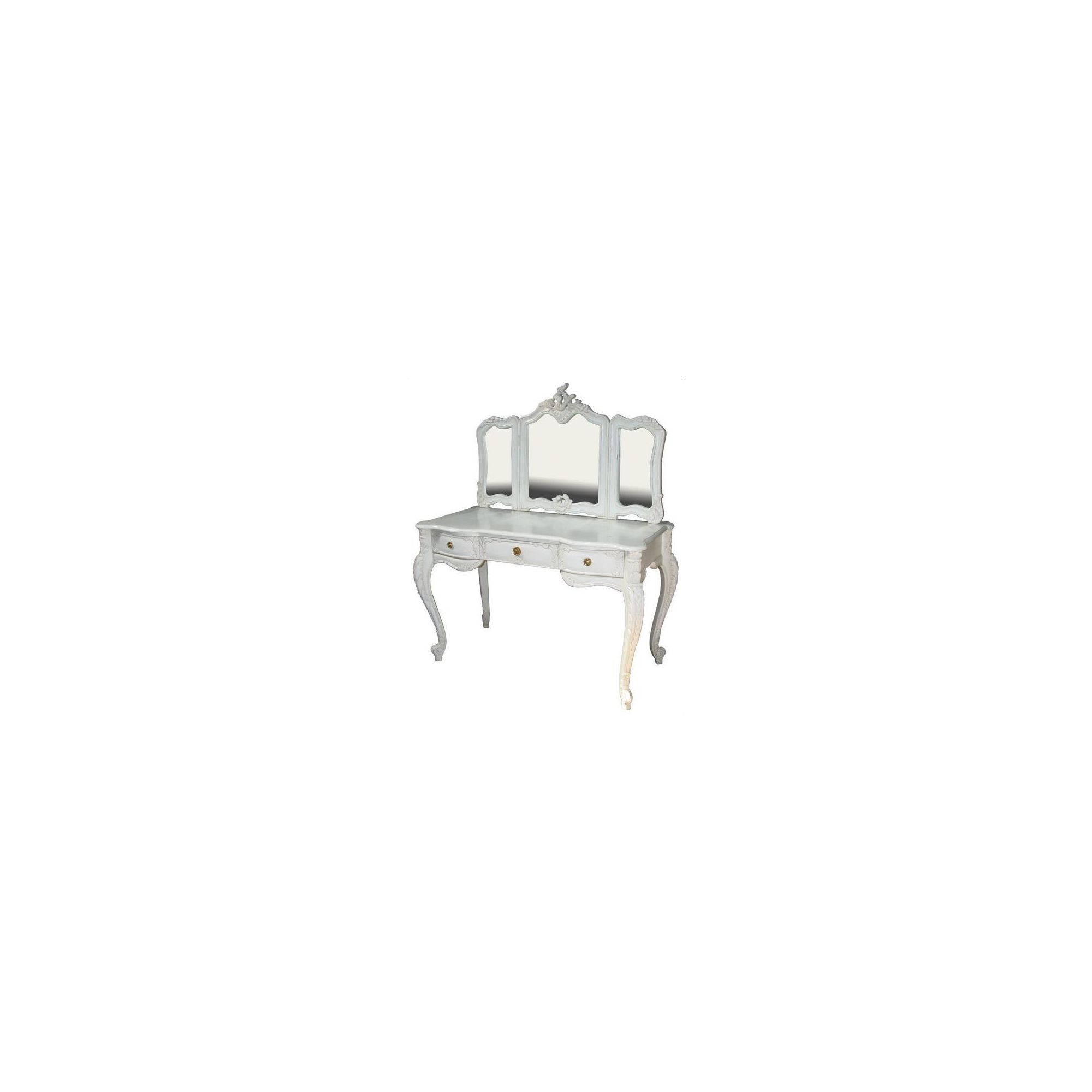 Lock stock and barrel Mahogany Rococo Dressing Table and Mirror in Mahogany - Antique White at Tesco Direct