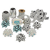 Christmas Ribbon and Bow Accessory Pack, Silver and Blue