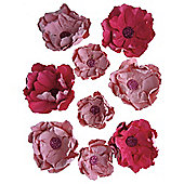 Handcrafted Roses Pink 9pcs