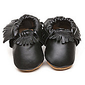 Cherry Kids Moccasins Baby Shoes Black - Black