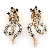Gold Plated Coiled, Crystal 'Cobra with Bow' Stud Earrings - 23mm Length
