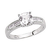 Jewelco London Rhodium-Plated Sterling Silver CZ Solitaire Dress Ring Size