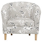 Tub Chair Fabric Pattern / Floral Grey