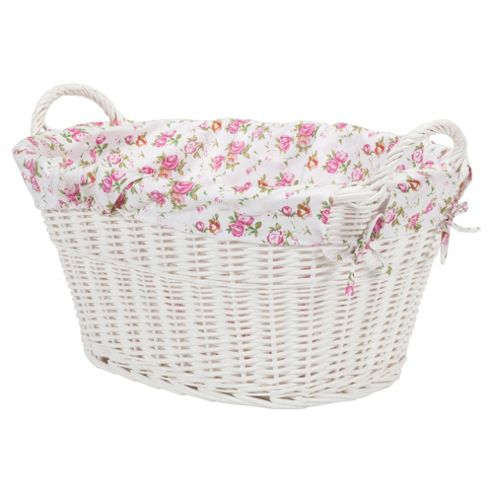 buy tesco white wicker lined laundry basket from our laundry bins baskets range. Black Bedroom Furniture Sets. Home Design Ideas