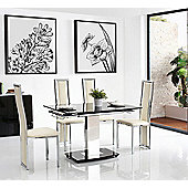 Enzo Black Glass and Stainless Steel Extending 80 - 120 cm Dining Table with 6 Ivory Elsa Chairs