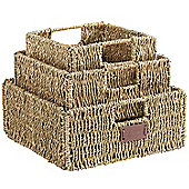 VonHaus Set of 3 Multipurpose Square Seagrass Storage Baskets with Insert Handles