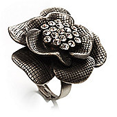 Antique Silver Crystal Rose Cocktail Ring