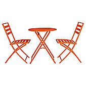 Milan Round  Steel  Folding Bistro Set - Orange