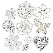 Wood Shapes White 10Pcs