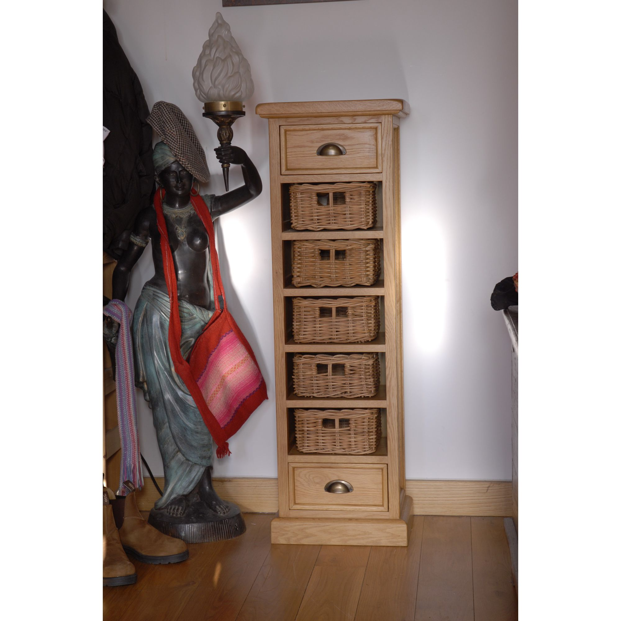 Oceans Apart Victoria Oak Tallboy at Tesco Direct