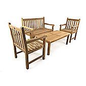 Warwick Bench Teak Coffee Set - Outdoor/Garden table and Chair set.