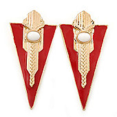 Statement Red Enamel Triangular Drop Earrings In Gold Plating - 6cm Length
