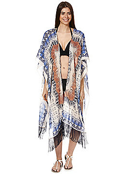Pieces Tribal Print Fringed Wrap - Multi