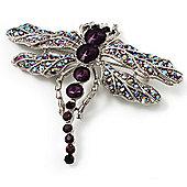 Stunning Purple Diamante Dragonfly Brooch (Silver Tone)