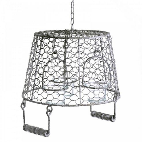 Large Triple Rustic Hanging Metal Bucket Tealight Holder