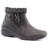 Caravelle Ladies Wide Fit Cosy Warm Black Ankle Boots