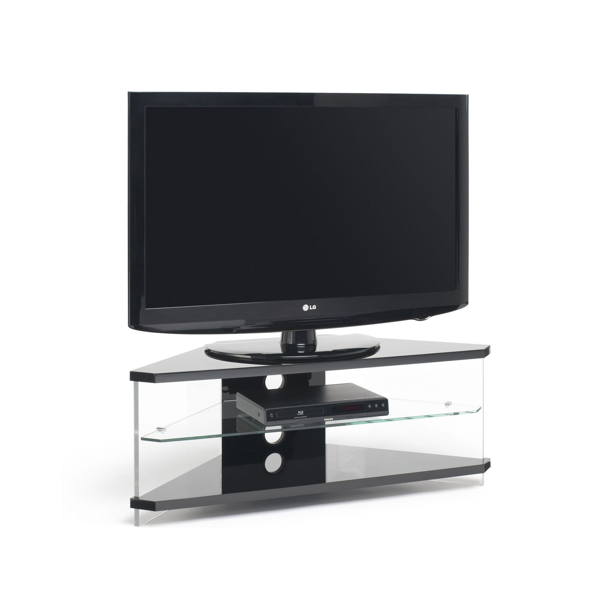 Techlink Air Acrylic and Glass 46'' Corner TV Stand - Black at Tesco Direct