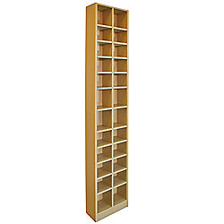 Tall Sleek CD DVD Media Storage Tower Shelves - Beech