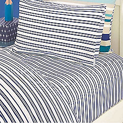 Blue Stripe Double Fitted Sheet and Pillowcase - Oliver