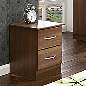 Welcome Furniture Avon 2 Drawer Bedside Chest with Locker - Walnut