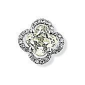 Jewelco London 9ct White Gold - Diamond & Green Amethyst - Charm Pendant -